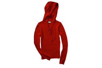 Red hooded lace up sweater, $11, at WALMART
