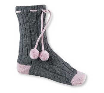 These fun pom pom socks go for $14 at Roots