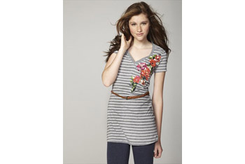 Striped tunic dress with braided belt, $10, at Garage Clothing