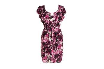 Printed flutter sleeve dress, $44.50, at Delias.com