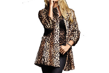 Faux fur leopard coat, $69.99, at VictoriasSecret.com