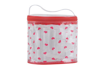 Ditsy hearts cosmetic travel bag, $4.80, at Forever 21