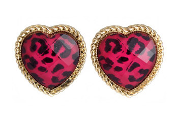 Leopard print heart stud earrings, $6, at Republic.co.uk