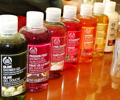 Fruity scented shower gels