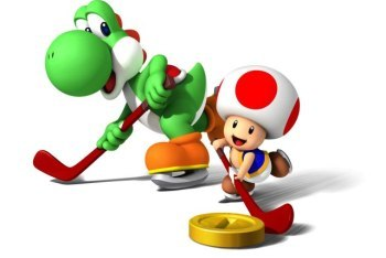 Mario Sports Mix hockey with yoshi and toad