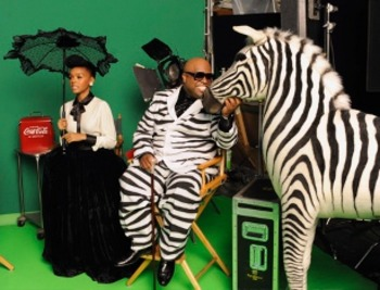 Janelle and Retro Singer Cee Lo Green in Vintage Coke Ad Photoshoot