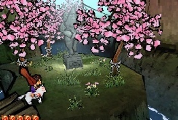 Okamiden screenshot sakura cherry blossom tree