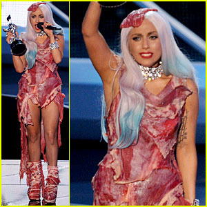 Lady Gaga in a meat dress!