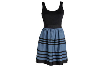 Blue and black stripe dress, $39.50