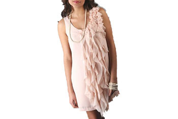 Ruffled chiffon tank dress, $32, at GoJane.com