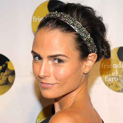 Jordana Brewster adds a jeweled headband to her look