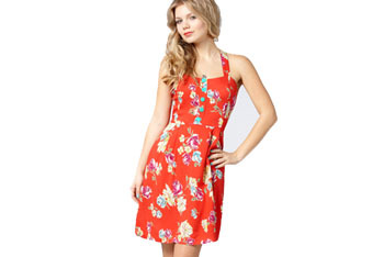 Oahu sunrise halter dress, $47, FredFlare.com
