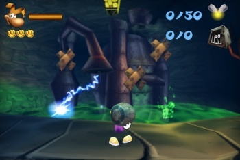Rayman 3D screenshot carrying barrel