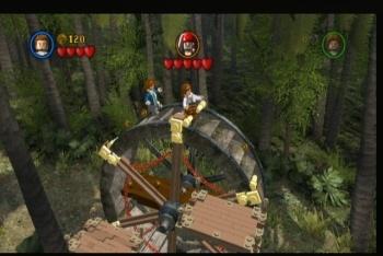 LEGO Pirates of the Caribbean screenshot sword fight on mill wheel