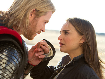 Chris Hemsworth and Natalie Portman in Thor