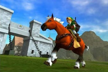 Link riding on his horse Epona