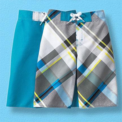 Surf Zone/MD Boys' Pack of 2 Plaid Swim Shorts