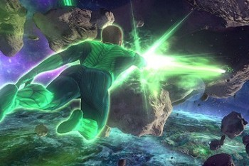 Green Lantern Rise of the Manhunters Wii flying through asteroids in space