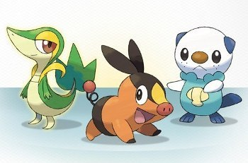 Pokémon Snivy, Tepig, and Oshawott