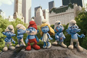 Smurfs Attack Neil Patrick Harris and Jayma Mays!