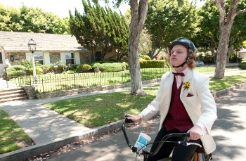 Rolo cycles all the way to prom in his tux!