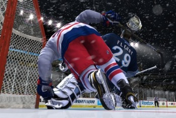 NHL 12 screenshot crashing the net