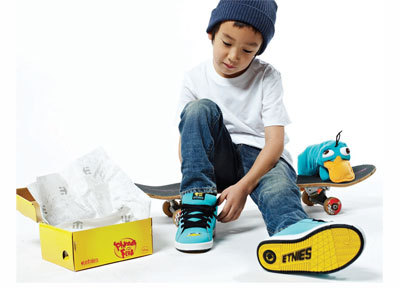 In an all-over Perry the Platypus teal, the etnies Kids Fader