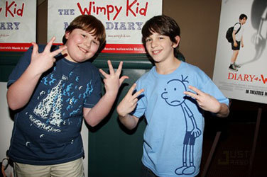 """A younger Robert with Zach Gordon from """"Wimpy Kid"""""""