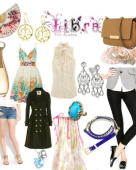 A collage of all things libra, including dangly airy earrings, flowing styles and peep-toe shoes