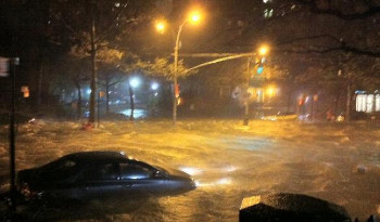 Hurricanes can cause flooding, like this NYC Street during Sandy