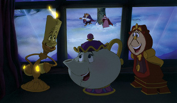 Lumiere, Cogworth and Mrs. Potts get excited when Belle and the Beast play in the snow