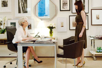Anne Hathaway plays an overworked intern in The Devil Wears Prada