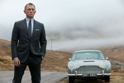Bond with the classic Aston Martin car