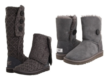 Uggs with flair: Lattice Cardy (left) and Bailey Button (right)