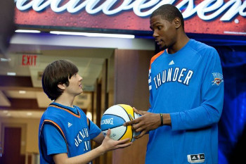 Kevin Durant and his number one fan swap talent