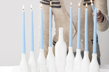 White and Blue Bottle Menorah