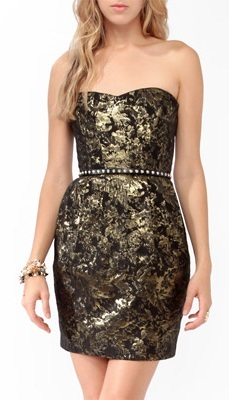 Metallic black tube dress from Forever 21