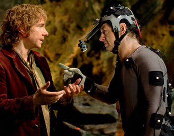 Bilbo (Martin Freeman) with Gollum (Andy Serkis in Motion Capture suit)