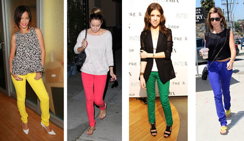 Rihanna, Lauren Conrad, Anna Kendrick and Ashley Tisdale in colored jeans