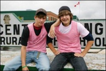 Travis Price and David Shepard organized the first Pink Shirt Day at their high school in Nova Scotia