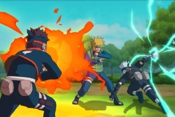 Young Kakashi battling the fourth Hokage