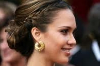 Jessica Alba's formal updo with mini-braids