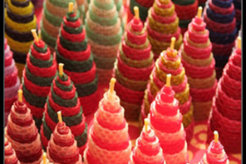 Tapered Multi-colored Beeswax Rolled Candles