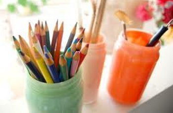 re use old jars and containers by storing your art supplies in them