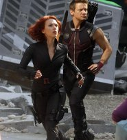 Jeremy as Hawkeye and Scarlett as Black Widow