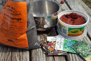 5 Parts Clay, 1 Part Compost, 1 Part Wildflower Seeds