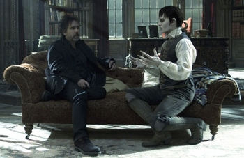 Johnny with director Tim Burton on set