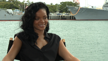 Rihanna being interviewed in Hawaii