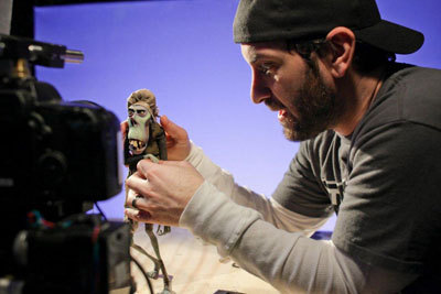 Laika animator moves a zombie puppet
