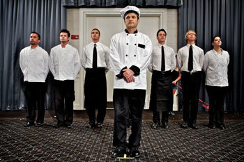 J.T. O'Neil prepares his team of waiters and chefs for a giant banquette
